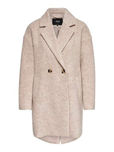 Only Onlnina Celeste Wool Coat Otw Abrigo, Gris (Shadow Gray Shadow Gray), 40 (Talla del fabricante: Medium) para Mujer