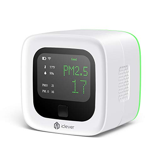 Air Quality Monitor, iClever Wireless Chargeable Air Quality Tester for PM2.5/PM10/PM1.0/Temperature/Humidity, Indoor Outdoor Air Detector for Home/Office/Car and Various Occasion