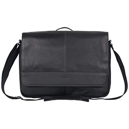 Kenneth Cole Reaction Risky Business Messenger Full-Grain Colombian Leather Crossbody Laptop Case & Tablet Day Bag, Black, One Size