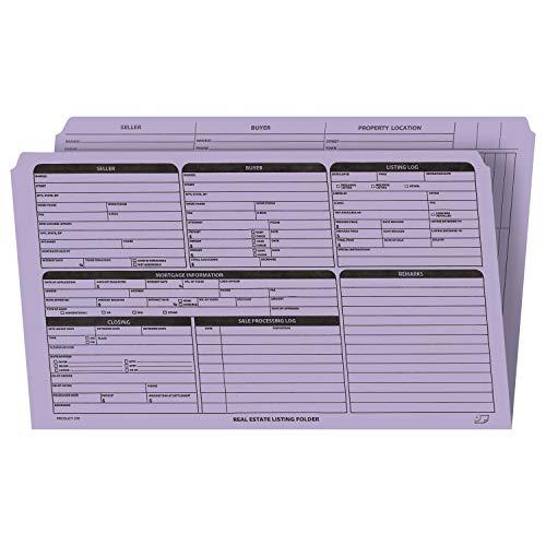 不動産リストフォルダー 右側のパネルリスト 丈夫なカードストックに事前印刷 チェックリストと色分けされたドット 整理用 (ラベンダー、リーガルサイズ | 25パック)