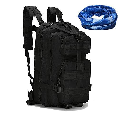 Haoyk - Zaino militare tattico, per sport all'aperto, escursionismo, trekking, campeggio, viaggi, alpinismo, motivo mimetico, 25 l, Black