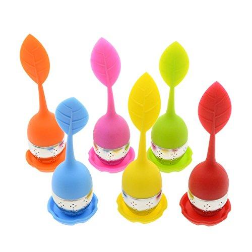 HelpCuisine infusore per tè/Filtro per tè, Infusore per Te e Tisane a Forma di Foglia di tè, Realizzato in Silicone Privo di BPA con setaccio in Acciaio Inox (Set da 6 infusori)