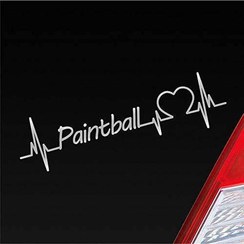 Hellweg Druckerei Auto Aufkleber Paintball Herzschlag Schießen Team Wettkampft Sport Sticker Liebe Silber