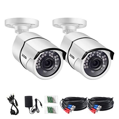 ZOSI 2X 1080p Außen Video Überwachungskamera Set mit Netzteil und Kabel, HD TVI Farb CCTV Kamera für DVR Sicherheitssystem, 36 IR LEDs, IP67 Metallgehäuse