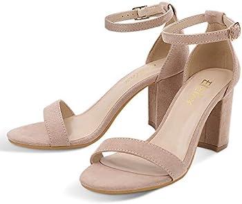 ElElax Nude Heels Women's Chunky Block High Heel Pump Sandals