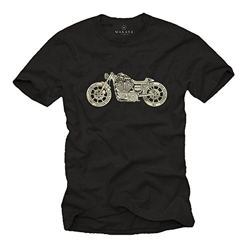 MAKAYA Camiseta Hombre Originales Vintage - Moto Accesorios Harley Negra L
