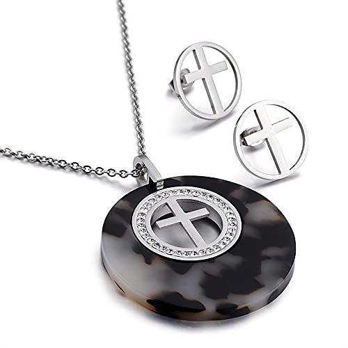 Moda Mujer Piedras Negras Acero Inoxidable Cruz De Cristal Collar Redondo Pendientes Conjuntos De Joyería