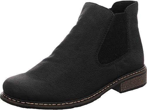 Rieker Damen Stiefeletten Z4994, Frauen Chelsea Boots, Women\'s Woman Freizeit leger Stiefel halbstiefel Bootie Damen,schwarz/schwarz,38 EU / 5 UK