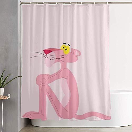 NHUXAYH Duschvorhang Sad Pink Panther Kunstdruck, Polyester Bad Dekorationen Sammlung mit Haken 60X72 Zoll