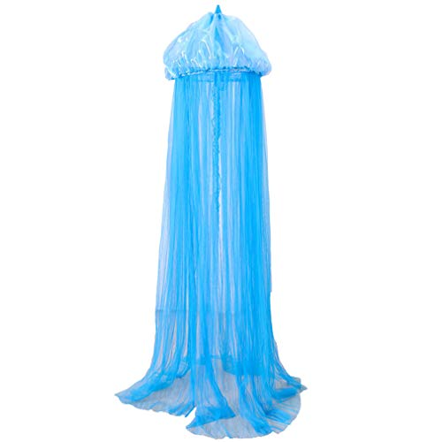ZXX. Bed Canopy Lace Mosquito Net for Girls Beds, Play Tent Bedding Netting Curtains, Blue Jellyfish Designed, Kids, Girls Or Adults Princess Bed, Anti Mosquito