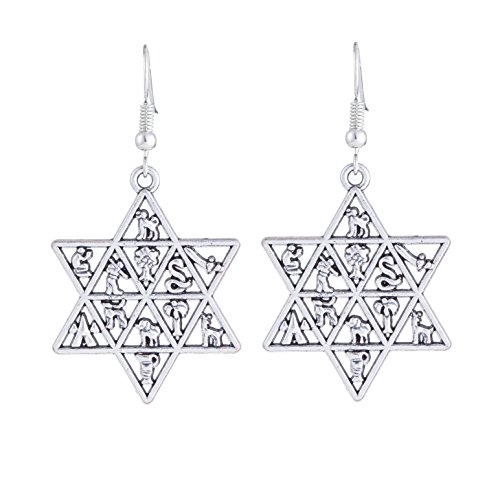 EUEAVAN Jewish Star of David Earrings Hebrew 12 Tribes of Israel Magen...