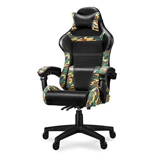 Gaming Chair Camo Video Game Chairs Camouflage Office Tall Back Chair with Carbon Fiber Leather Comfortable Adjustable Armrest Headrest and Lumbar Support for Adults/Men/Teens/Kids/Boys AG03