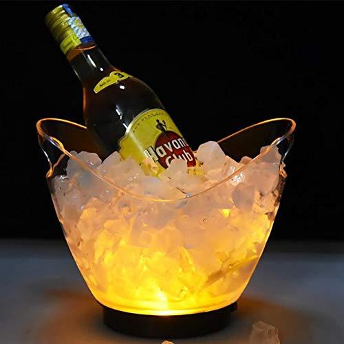 Uziqueif Secchiello Ghiaccio Vino LED, Secchiello per Champagne, Portaghiaccio, 2L,Multi Colored