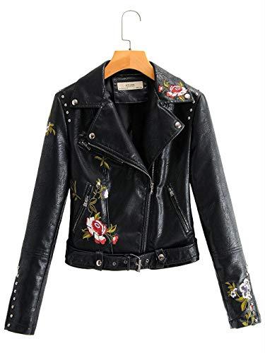 MAWEI Frauen Blumenstickerei Lederjacke Jacke Frauen Leder Kurze Lederjacke Frauen Winter schlanke Lederjacke-SCHWARZ_XL