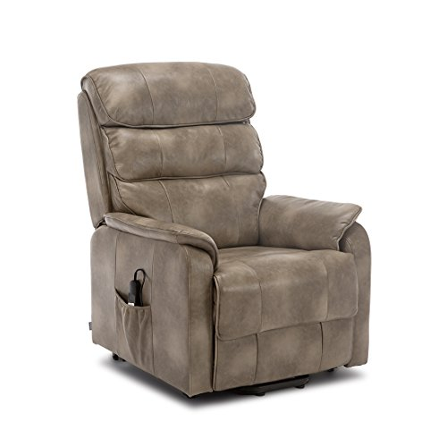 More4Homes BUCKINGHAM DUAL MOTOR ELECTRIC RISE RECLINER BONDED LEATHER ARMCHAIR SOFA MOBILITY CHAIR (Stone)