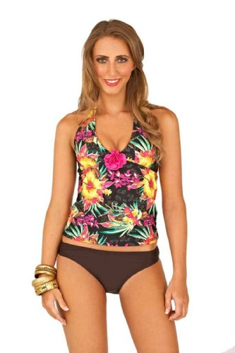 Lora Dora Womens Tropical Halter Neck Tankini Vest TOP + Bottoms 3D Flower Black Ladies Size 8