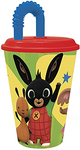 Bicchiere Sport con Cannuccia 430 ml per Bambini in plastica (Bing)