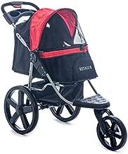 KETAGUR Dog Stroller - Pet Stroller for Small Medium Dogs & Cats, 3-Wheel Cat Stroller, Foldable Dog Jogging Stroller, Zipperless Entry, Easy One-Hand Fold, Cup Holder + Storage Basket