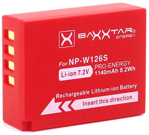 Baxxtar PRO - Ersetzt Akku Fujifilm NP-W126s NP-W126 (echte 1140mAh) zu FinePix X100F X100V X-A5 X-A7 X-A10 X-E3 X-H1 X-Pro3 X-S10 X-T3 X-T10 X-T20 X-T30 X-T100 X-T200