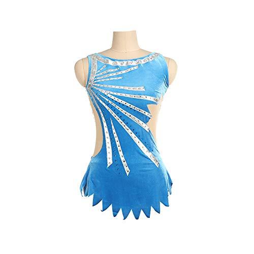 ZFKH Mädchen Eiskunstlauf Kleid Handmade Sleevless Fine Drill Blue Geeignet für Kinder unter 17 Jahren,XXL