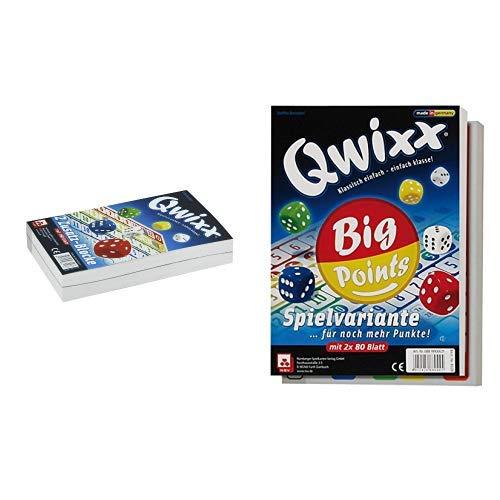 NSV - 4016 - QWIXX ZUSATZBLÖCKE, 2 x 80 Blatt - Würfelspiel & - 4039 - QWIXX BIG POINTS Spielblöcke - Würfelspiel