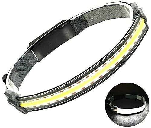 Linterna Frontal LED USB Recargable, Hi Beam Work Light Faro de Haz Ancho con Cable de Carga USB, Correa elástica Ajustable, luz LED COB Impermeable para Deportes de Trabajo al Aire Libre