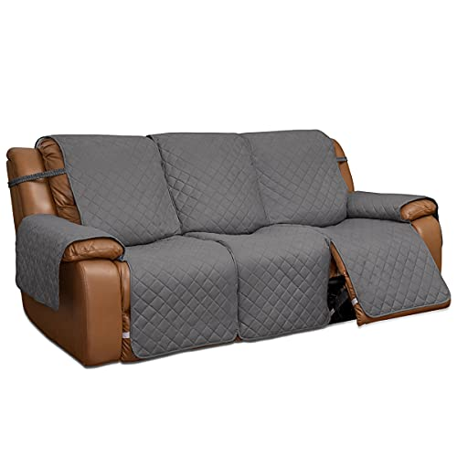 Easy-Going Recliner Sofa Cover, Reversible Couch Cover for 3 Seat Recliner, Split Sofa Cover for Each Seat, Furniture Protector with Elastic Straps for Kids, Dogs, Pets(3 Seater, Gray/Light Gray)