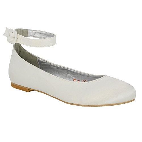 ESSEX GLAM Scarpa Donna Bianco Satinato Ballerina Cinturino Caviglia Tacco Piatto Sposa EU 36