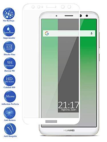 Todotumovil Protector de Pantalla Huawei Mate 10 Lite Color Blanco Completo 3D Cristal Templado Vidrio Curvo para movil