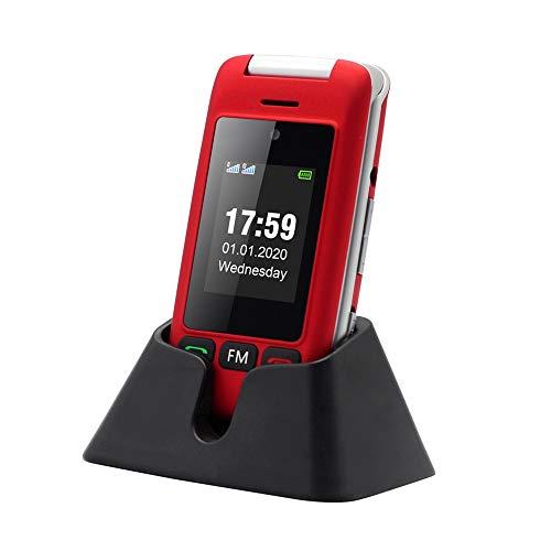 Artfone C10 Telefono Cellulare Anziani Cellulare per Anziani Telefono per Anziani a Conchiglia Tasti Grandi 2,4'' Display Volume Alto Funzione SOS (rosso)