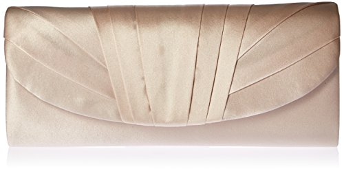Jessica McClintock Angel Womens Satin Tuxedo Flap Evening Clutch Bag With Shoulder Chain Included, Champagne