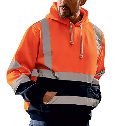 jin&Co Men Sweatshirts Long Sleeve Road Work High Visibility Casual Hooded Jackets Sport Tops with Pockets Pullover Orange