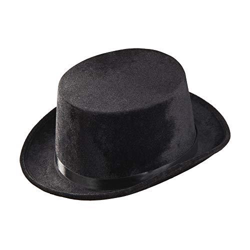 Widmann 1434N - Zylinder aus Samt, Einheitsgröße für Erwachsene, schwarz, klassischer Hut, Kostüm, Kopfbedeckung, Fasching, Mottoparty, Karneval