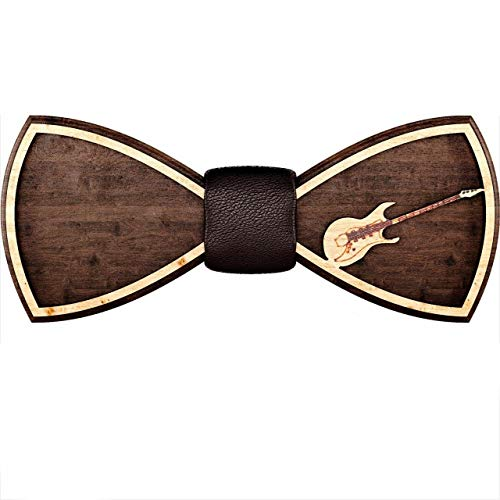 Wooden Bow Tie for Men, Women, Boys and Girls – Pre-Tied Bow Ties Formal Solid Tuxedo for Adults & Kids Adjustable Length – Best Gift for Loved Ones – Wedding Party Accessories for Fiance (Guitar)