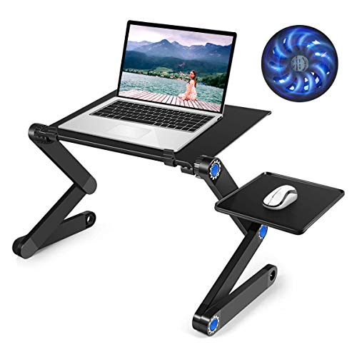 Adjustable Laptop Stand Table, Laptop Table for Bed,Recliner,Sofa- Great Birthday Gifts for Women, Man, Mom, Dad, Student, Friend- Couch Lap Top Desk, with 2 Large Cooling Fan & Mouse Pad Side