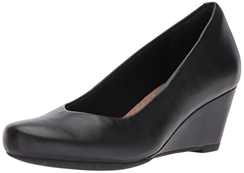 Clarks Women's Flores Tulip Wedge Pump,Black Leather,7.5 M US