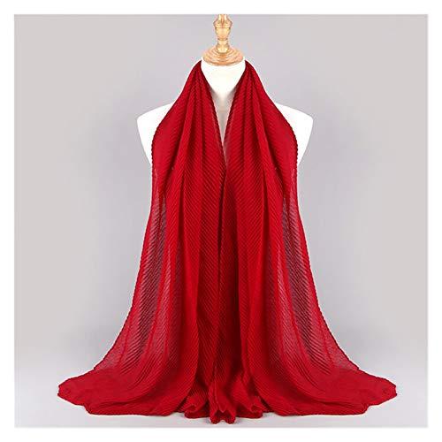 JIAHUI 1 bufanda de algodón de gran tamaño para mujer, se pliega con arrugas, chal Hijab de color sólido (color: color 20 vino)