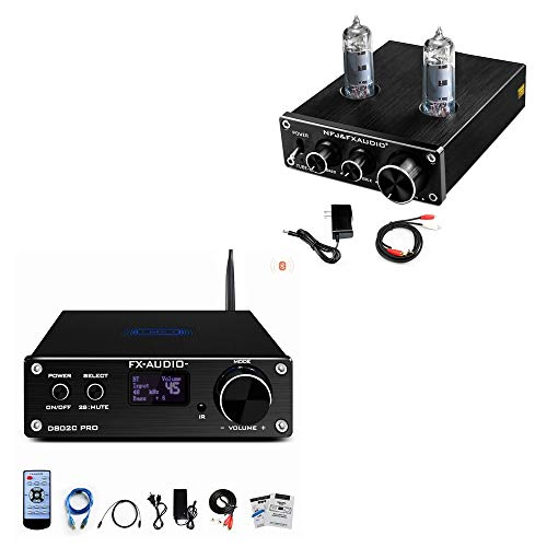FX AUDIO TUBE-03 Tube Preamp + Bluetooth Class D Digital Amplifier, Preamplifier and D802C PRO Bluetooth Amplifier 2 Channel HiFi Home Audio Mini Amp for Home Theater System
