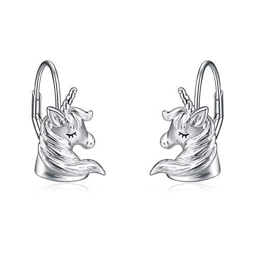 Damen Ohrringe Sterling Silber Laufen Einhorn Ohrringe Schmuck Geschenke für Damen Mädchen (silberne Einhorn ohrringe)