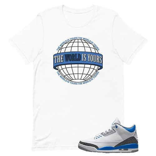 Shirt for Jordan 3 Racer Blue Retro Match Outfit (White World, XL)