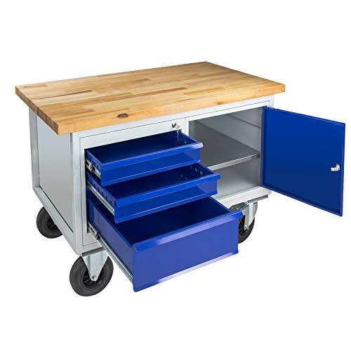 ADB Tischwagen | Werkstattwagen | Rollende Werkbank Mobil 3 Schubladen 1 Tür