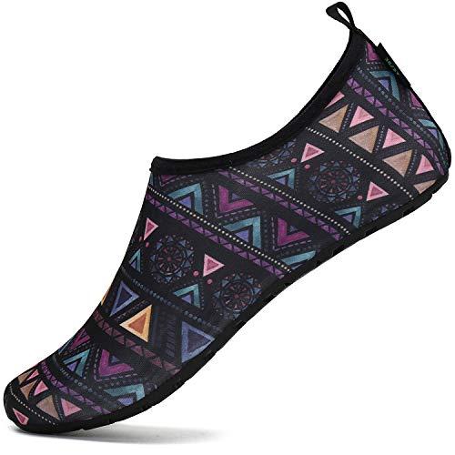 SAGUARO Hombre Mujer Zapatos de Agua Playa Escarpines Zapatillas de Deportes Acuáticos Buceo Surf Snorkel Yoga Piscina, Morado 36/37
