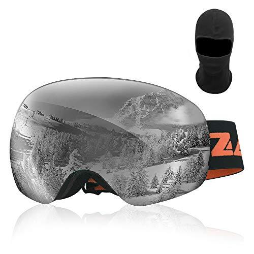 Zacro Gafas de Esquí,Gafas de Snowboard Unisex,OTG 100% UV400 Protección Gafas de Esquí,Doble Esférica Lentes para Esquí, Snowboard,Moto de Nieve,Anti-Niebla y Anti-Nieve,Lente Gris