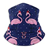 N/A Merry Christmas Flamingo Bird UV Face Mask Soft Windproof Keep Warm Moisture Wicking Winter Microfiber Neck Warmer 30×25cm Black