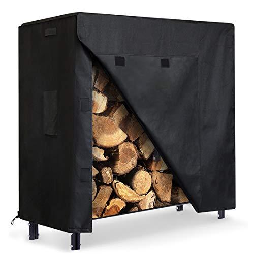ZNCMRR Firewood Log Rack Cover 4 Feet 600D Oxford Heavy Duty Outdoor Waterproof AllWeather Outdoor Protection for Firewood Rack Cover 48quot x 24quot x 42quot 4 Feet Black