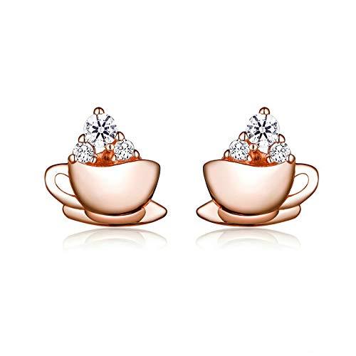 N/N® Ohrringe Für Frauen Ohrstecker Silber 925 Roségold Kaffee Und Zuckerwürfel Für Mädchen Anti-Allergie-Schmuck