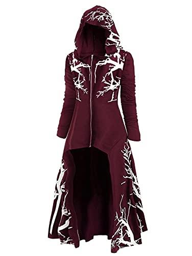 Talla Extra 6XL Vestido Medieval de la Fiesta de Las Mujeres Túnica con Capucha Robe Cloak Knight Wizard Halloween Fancy Dress Mascarerade Cosplay (Color : Burgundy, Size : 3XL)