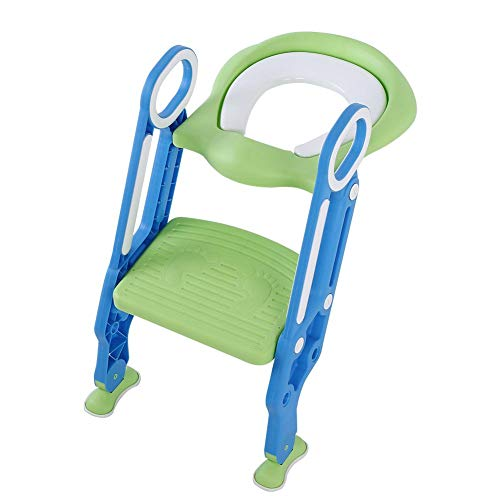 Potty Training Seat with Ladder, Toddler Toilet Hard Seat for Boys & Girls Baby Easy Safe Potty Chair Adjusts to Fit Most Toilets & Folds to Become Portable Potty Seat for Toddler(Green&Blue)