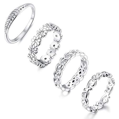 FUNRUN JEWELRY 4PCS Celtic Knot Eternity Band Ring Women Feather Leaf Daisy Flower Engagement Promise Wedding Ring Set Size 6