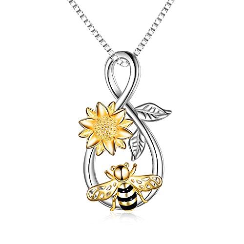 Collar de abeja de plata de ley Infinity Love Collar con colgante de abeja con joyería de flor rosa Regalos para mujeres adolescentes